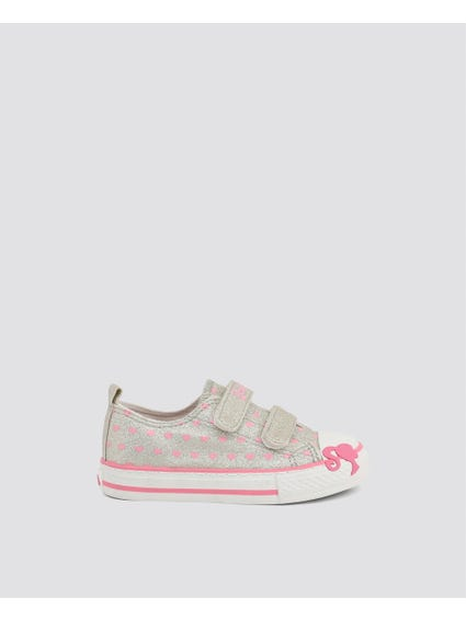 Grey Velcro Glitters Kid Sneakers