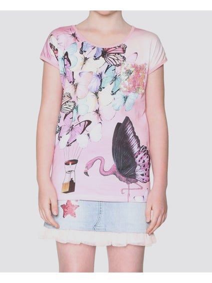 Pink Butterfly Short Sleeves Kids Top
