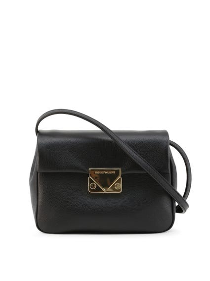 Black Leather Magnetic Crossbody Bag