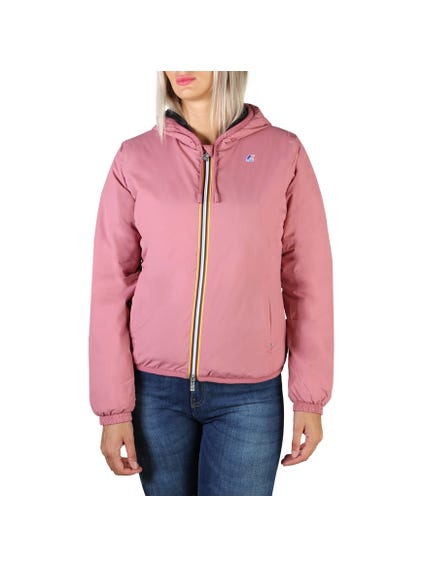 Pink Hooded Drawstring Jacket