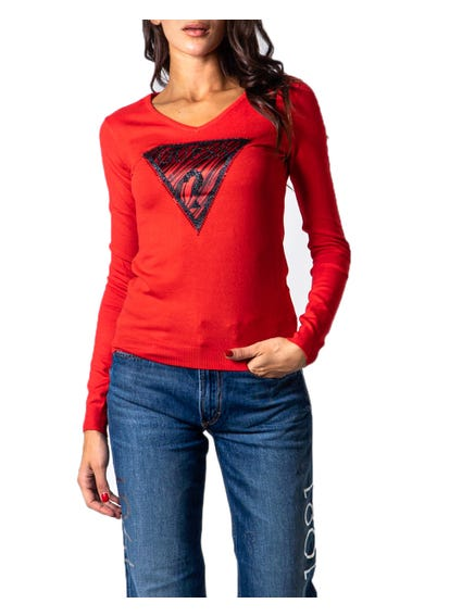 Red Long Sleeve Pattern Knitwear