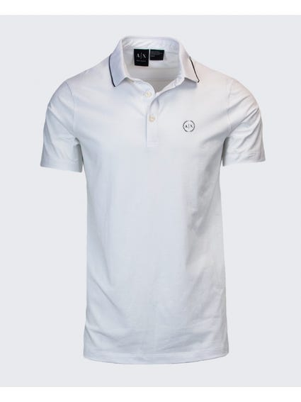 White Embroidered Logo Polo Shirt
