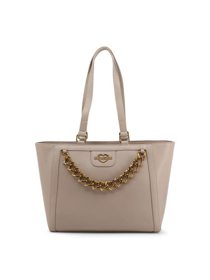 Grey Dual Top Chain Shoulder Bag