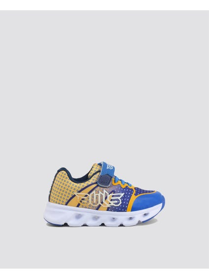 Yellow Patterned Velcro Kids Sneakers