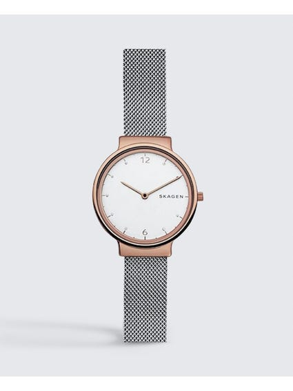Silver Ancher Steel Mesh Watch