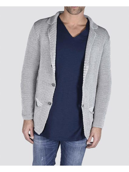 Grey Long Sleeve Knitted Blazer