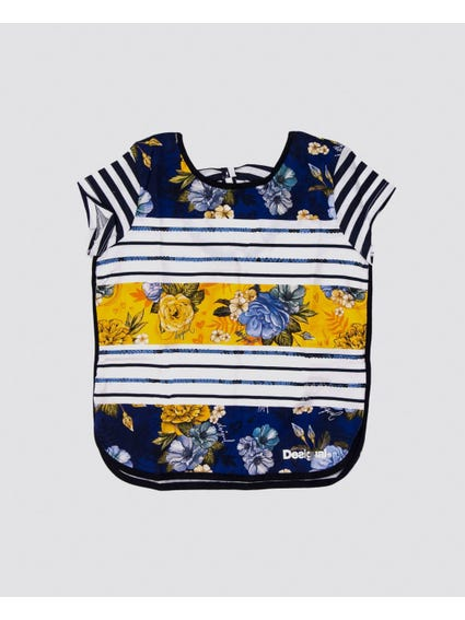 Contrast Stripe Scoop Neck Kids Top
