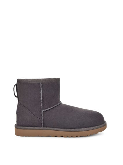 Grey Suede Slip On Rubber Ankle Boots