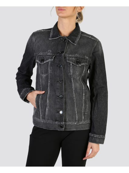 Back Image Print Denim Jacket