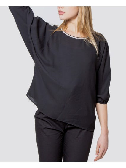 Black Round Neck Silver Design Blouse