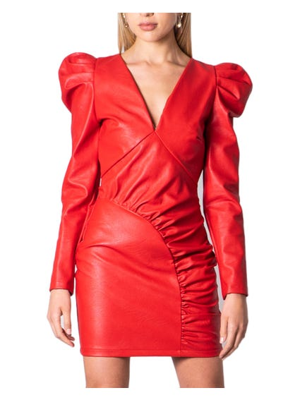 Red V Neck Leather Dress