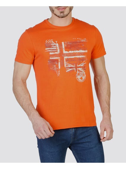 Orange Graphic Printed T-Shirt