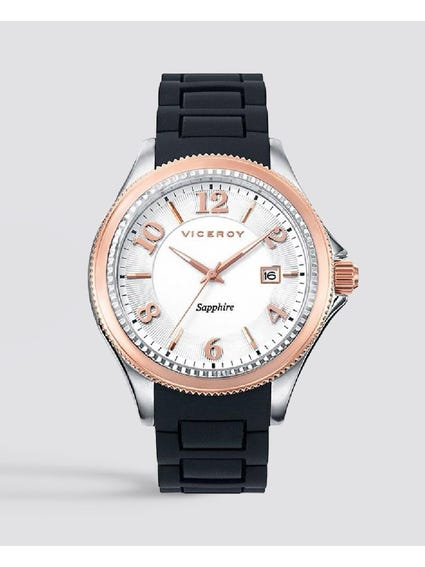 Round Silver Dial Rubber Strap Watch
