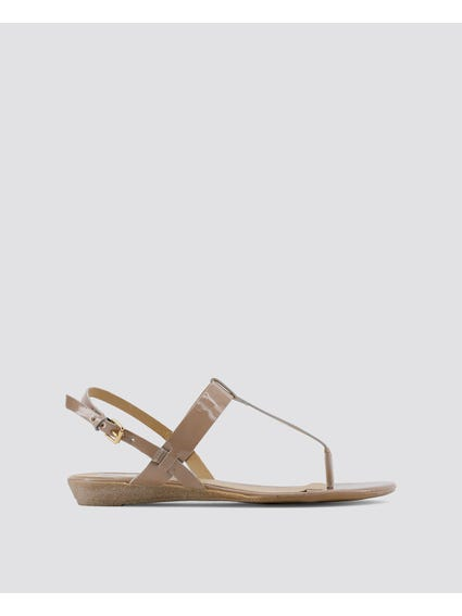 Brown Patent Sling Back Sandals