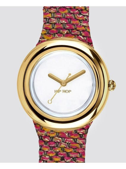 Gold Bezel Analog Quartz Watch