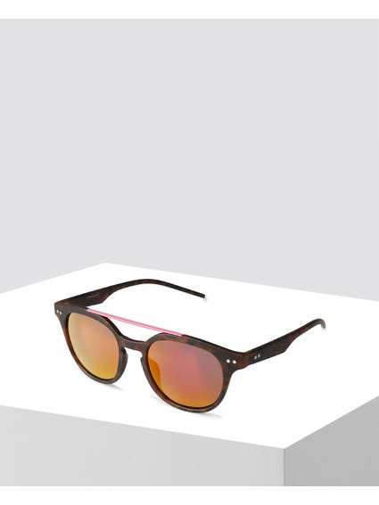 Brown Printed Double Bridge Sunglasses