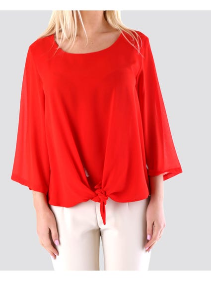 Front Knot Button Down Top