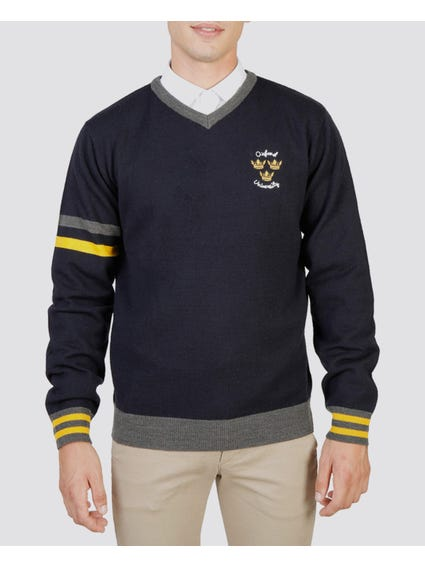 Navy Oxford V-Neck Sweater