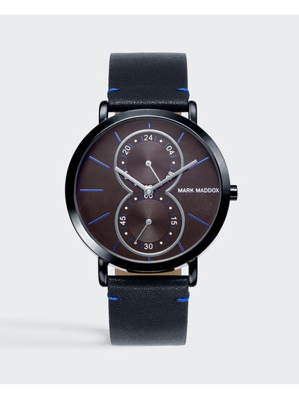 Black Leather Strap Quartz Watch