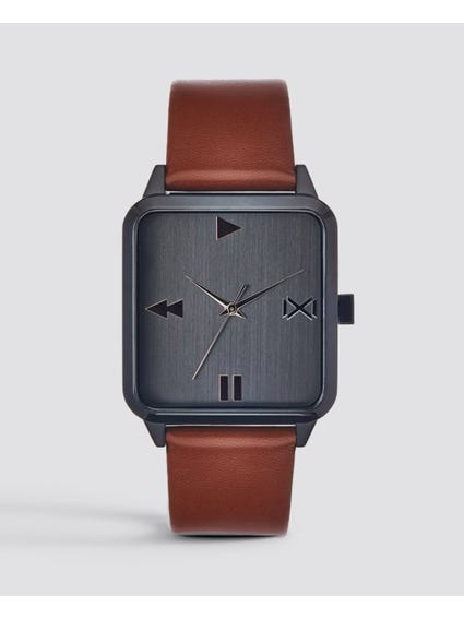 Rectangular Leather Analog Watch