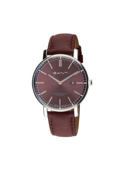 Round Frame Brown Leather Strap