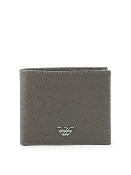 Grey Leather Bi Fold Wallet