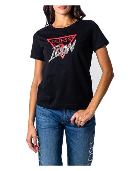 Black Short Sleeve Icon Print T-shirt