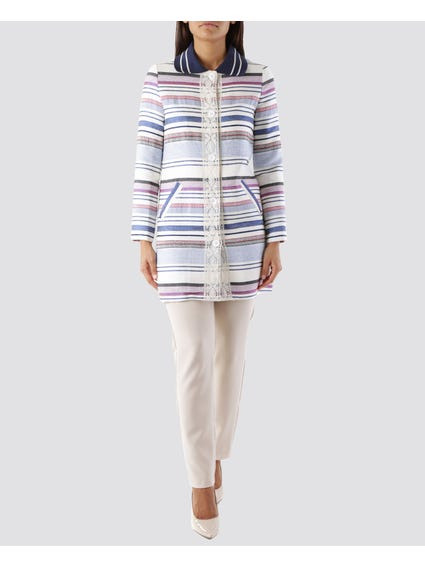 Multicolor Stripes Longline Blazer