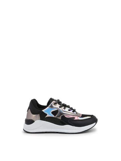 Black Metallic Kids Sneakers