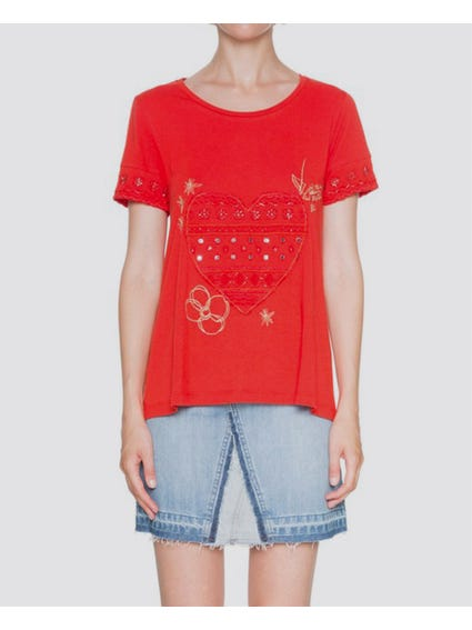 Red Embroidered Short Sleeves T-Shirt
