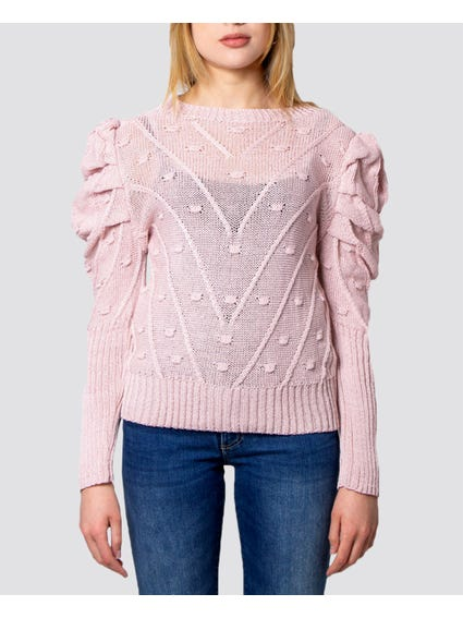 Pink Balloon Sleeves Knitted Sweater