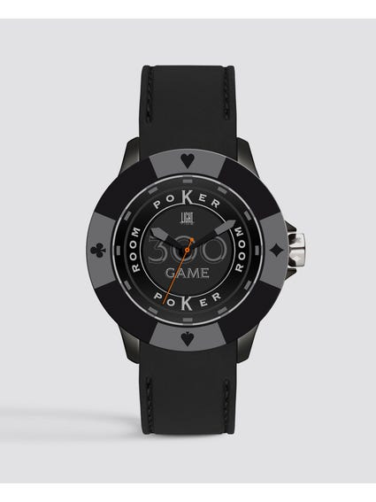 Black Silicone Poker Quartz Watch