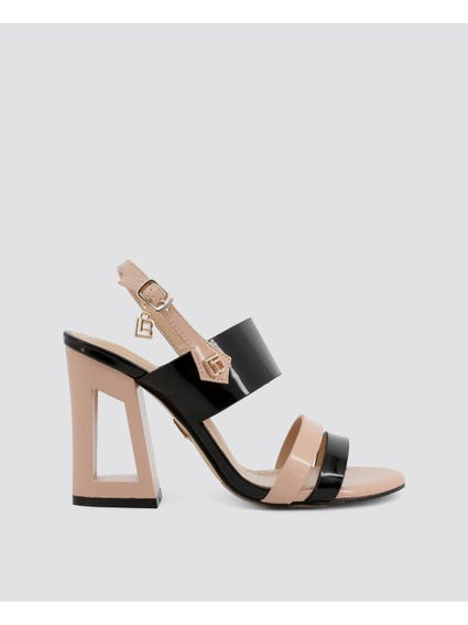 Black Patent Ankle Strap Sandals