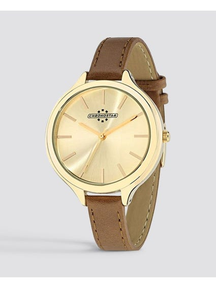 Calfskin Strap Gold Dial Watch