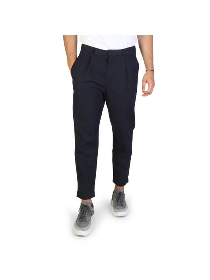 Blue Button Zip Slim Fit Trouser