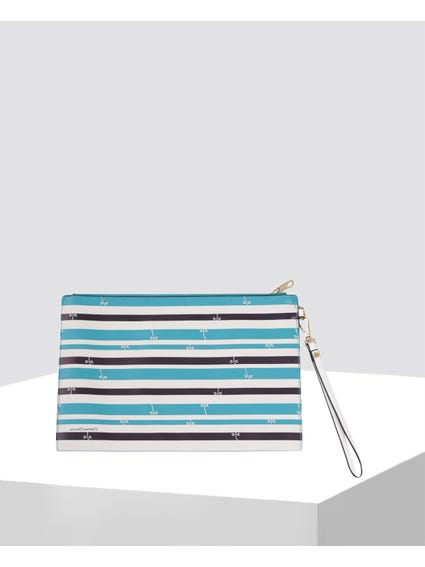 Blue Stripe Clutch Bag
