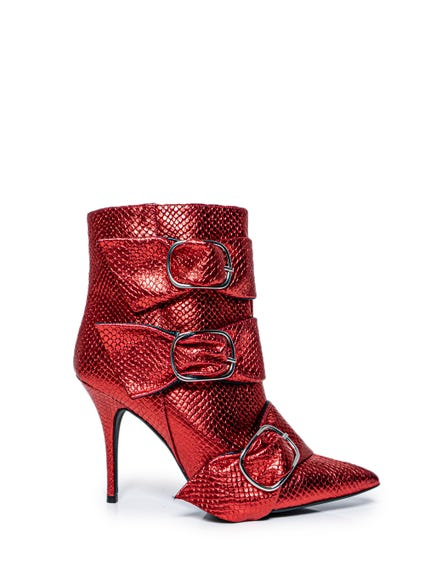 Snake Ribbon Buckle Ankle Boots
