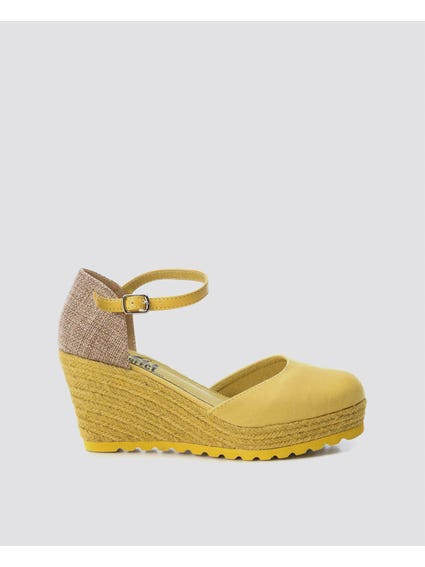 Yellow Round Toe Wedge Sandals