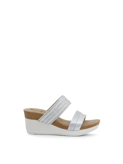 Grey Leather Glitter Wedge Sandals