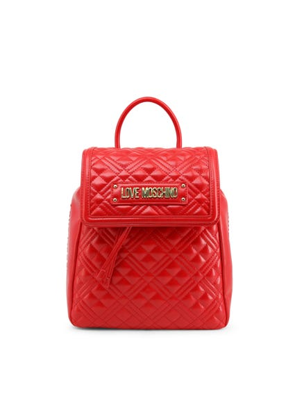 Red Quilted Flap Pocket Back Pack