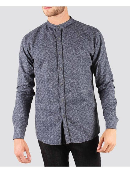 Grey Pattern Design Close Neck Shirt