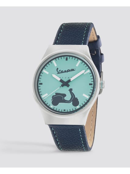 Irreverent Blue Dial Leather Watch