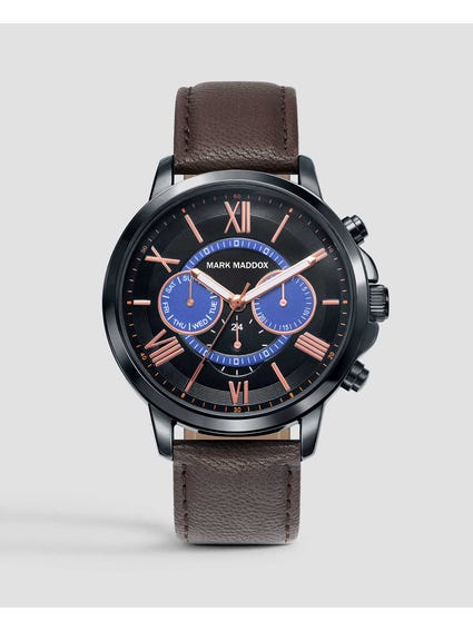 Multifunction Brown Leather Watch