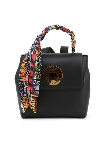 Black Multi Graphic Print Handle Pack Backpack