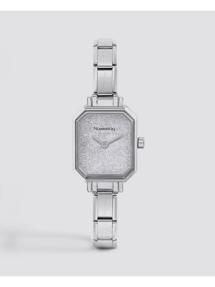 Classic Paris Silver Glitter Watch