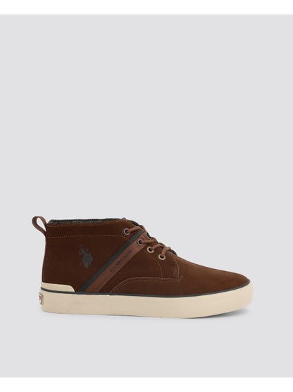 Brown Anson Leather High Top Sneakers