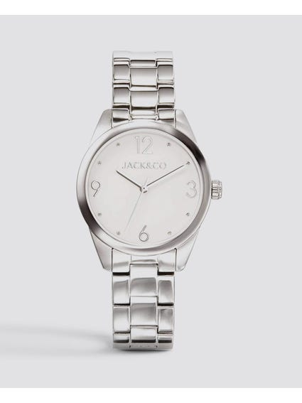 Round White Dial Analog Watch