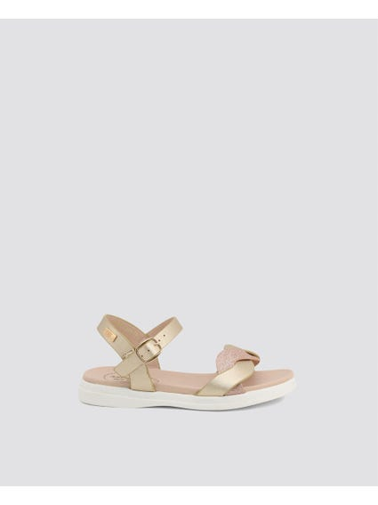 Gold Twist Strap Kids Sandals
