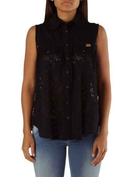 Black Sleeveless Button Blouse