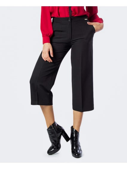 Metal Patch Waist Cropped Pants